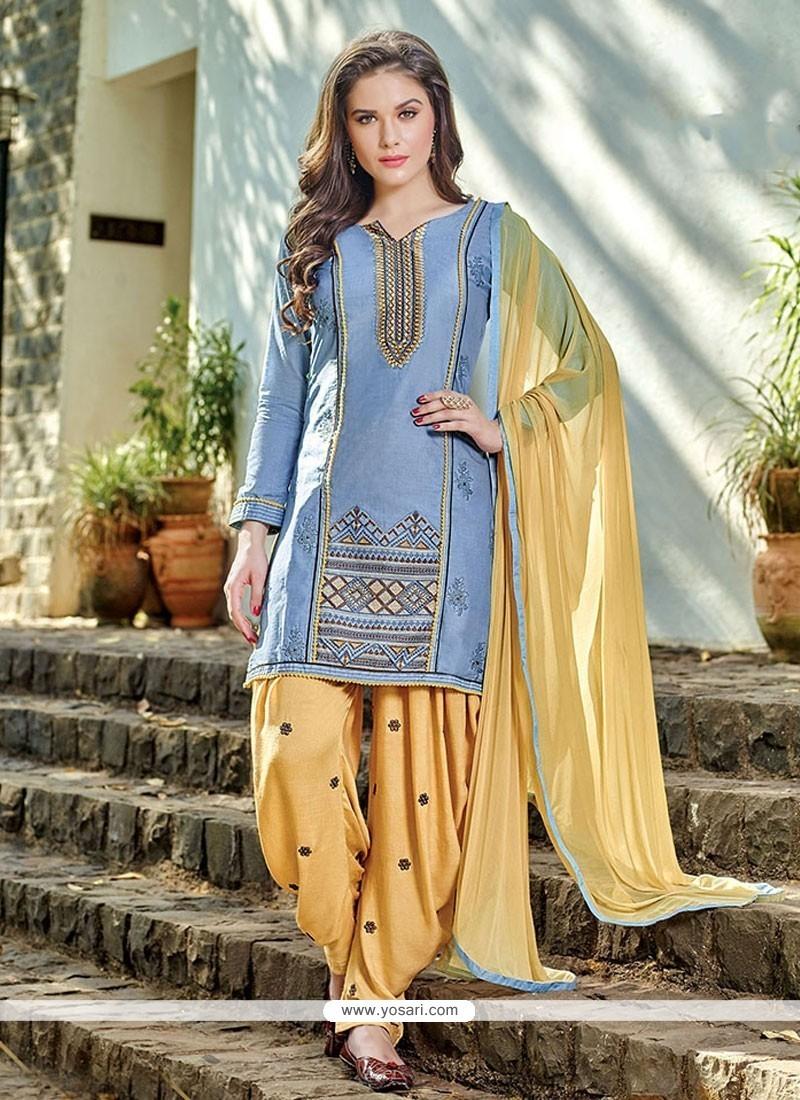 Heavenly Embroidered Work Blue Cotton Designer Patiala Salwar Kameez