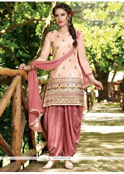 Extraordinary Embroidered Work Peach Designer Patiala Salwar Kameez