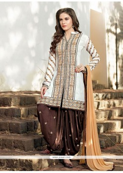 Integral Cotton Off White Resham Work Designer Patiala Salwar Kameez