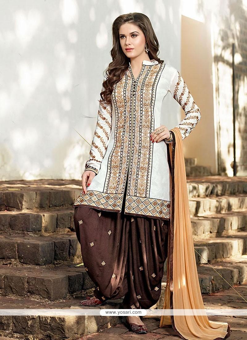 Integral Cotton Off White Resham Work Designer Patiala Salwar Kameez