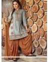 Elite Embroidered Work Grey Cotton Designer Patiala Salwar Kameez