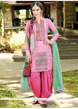 Magnetize Resham Work Pink Designer Patiala Salwar Kameez