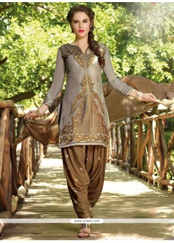 Stylish Cotton Grey Designer Patiala Salwar Kameez
