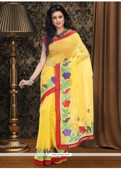 Amazing Mustard Supernet Saree