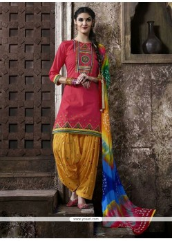 Sightly Lace Work Cotton Punjabi Suit