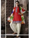 Spectacular Red Embroidered Work Cotton Punjabi Suit