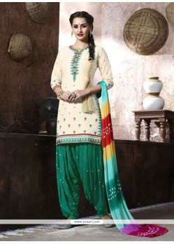 Impeccable Cotton Lace Work Punjabi Suit