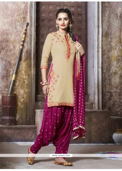 Glowing Embroidered Work Cotton Punjabi Suit