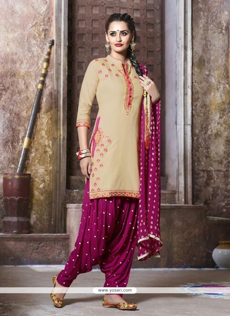 Glowing Embroidered Work Cotton Punjabi Suit