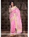 Competent Pink Supernet Saree