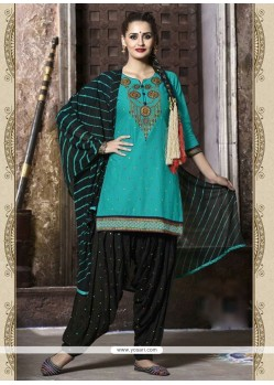 Topnotch Sea Green Cotton Punjabi Suit