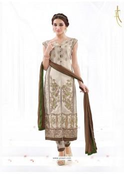 Distinctive Cotton Beige And Brown Churidar Designer Suit