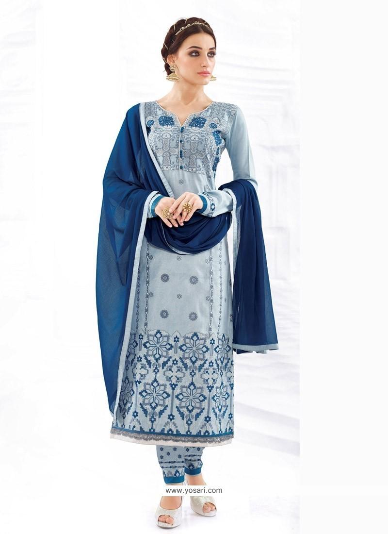 Genius Cotton Blue Resham Work Churidar Designer Suit