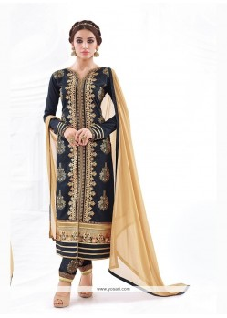Resplendent Navy Blue Churidar Designer Suit