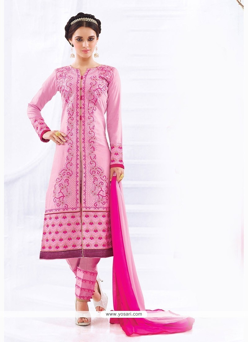 Impressive Embroidered Work Cotton Churidar Designer Suit