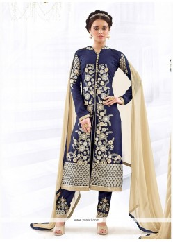 Capricious Cotton Navy Blue Churidar Designer Suit