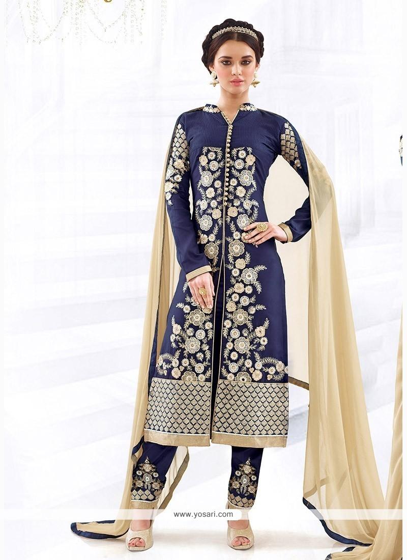 Capricious Cotton Navy Blue Churidar Designer Suit