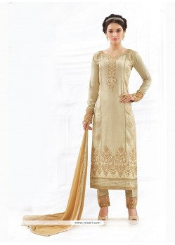 Beige Cotton Churidar Designer Suit