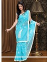 Bedazzling Blue Supernet Saree