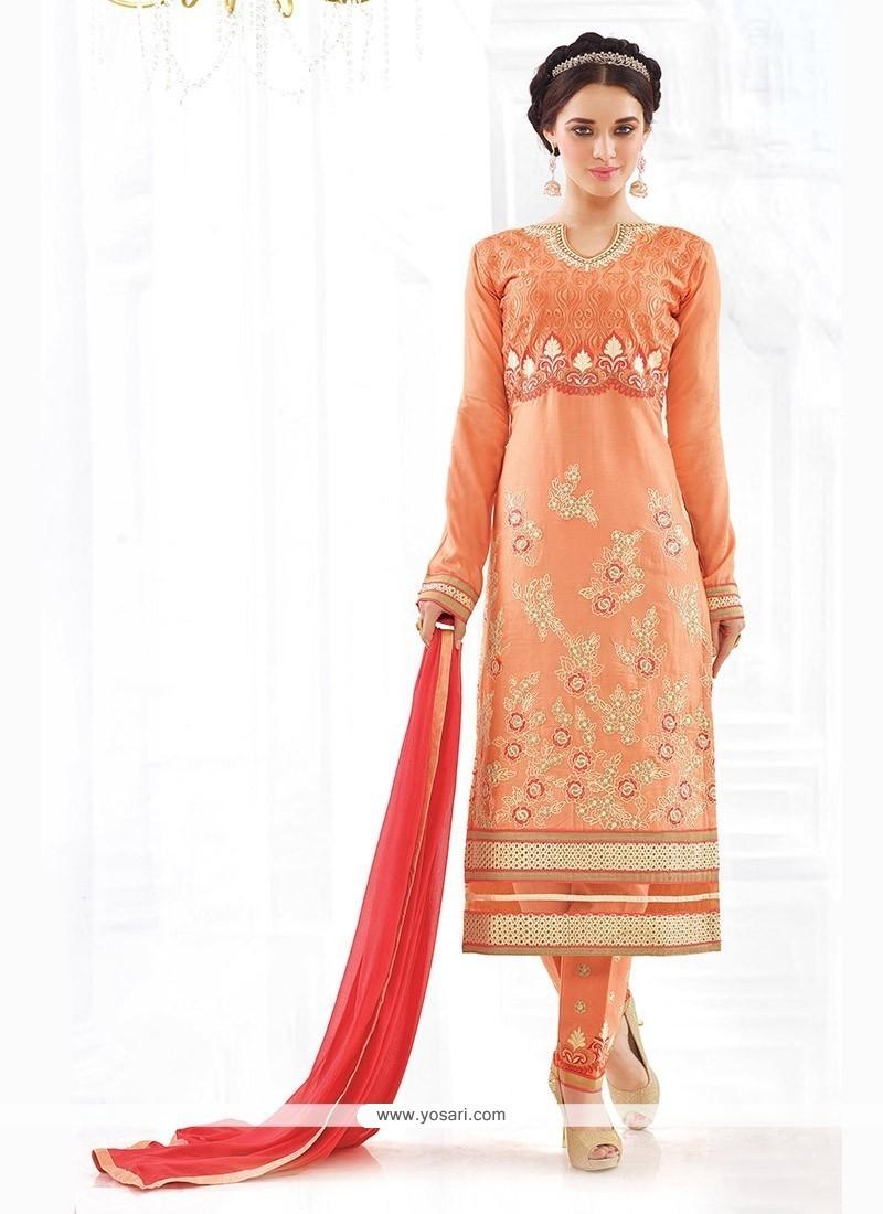 Auspicious Resham Work Cotton Churidar Designer Suit