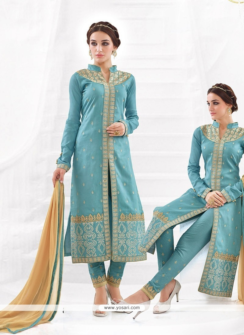 Preferable Resham Work Churidar Designer Suit