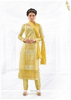 Glowing Yellow Embroidered Work Cotton Churidar Designer Suit
