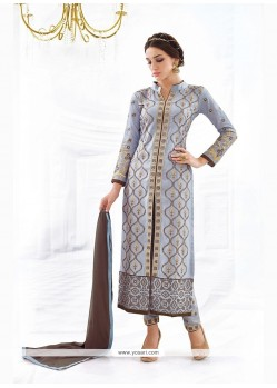 Spellbinding Cotton Embroidered Work Churidar Designer Suit
