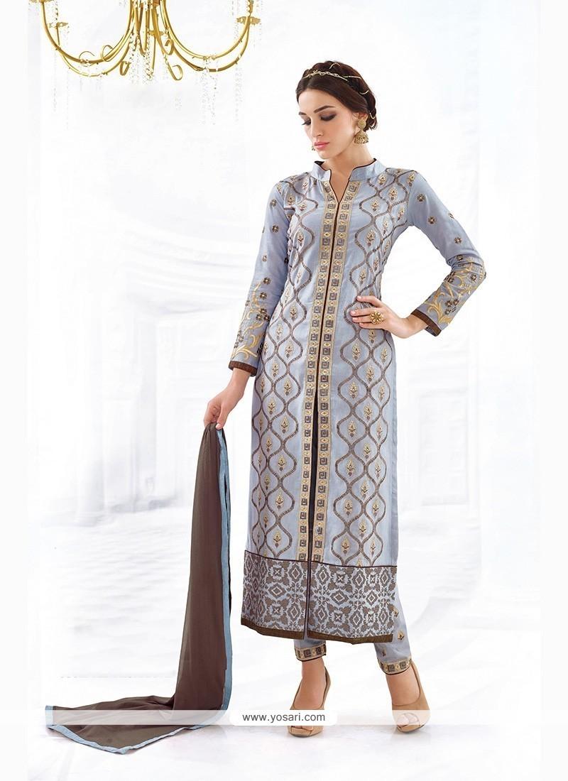 Spellbinding Cotton Embroidered Work Churidar Designer Suit
