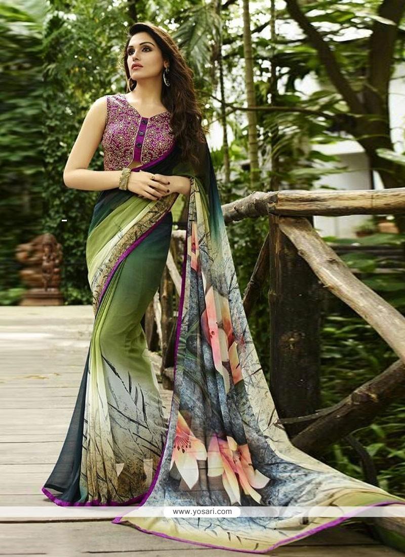 Print Georgette Designer Saree In Multi Colour