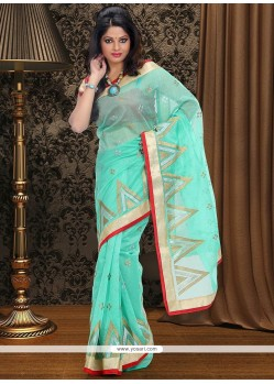 Turquoise Blue Supernet Saree