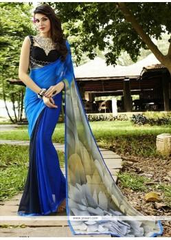 Vivid Georgette Blue Designer Saree