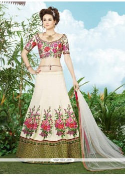 Blissful Off White Patch Border Work Silk A Line Lehenga Choli