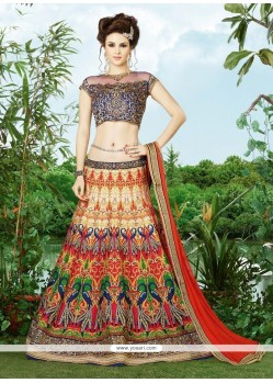Unique Silk Multi Colour A Line Lehenga Choli
