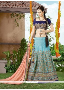 Intricate Silk Turquoise Patch Border Work A Line Lehenga Choli