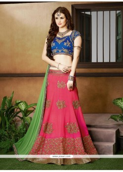 Embroidered Silk A Line Lehenga Choli In Hot Pink