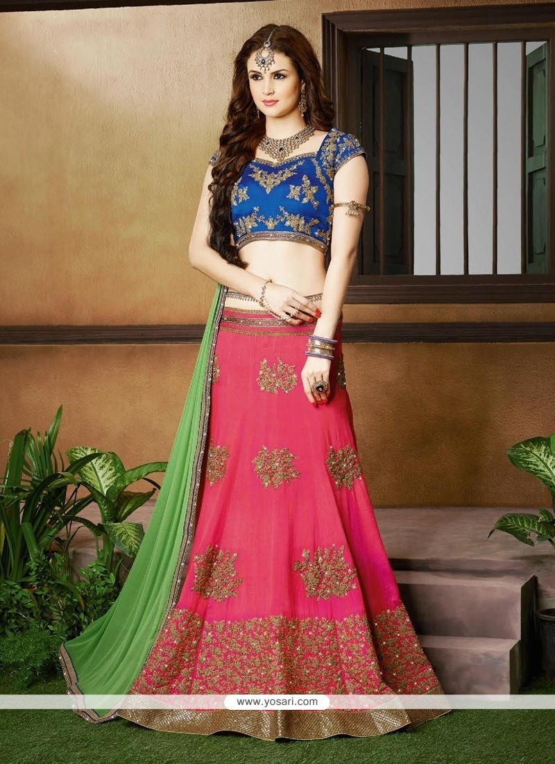 Embroidered Silk A Line Lehenga Choli In Hot Pink