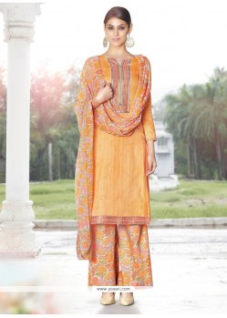 Beautiful Orange Designer Palazzo Salwar Suit