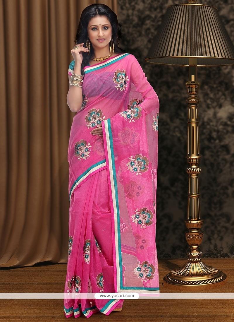 Astonishing Pink Supernet Saree