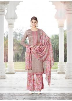 Baronial Beige Print Work Designer Palazzo Salwar Suit
