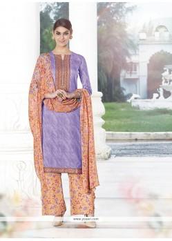 Lavish Print Work Purple Cotton Satin Designer Palazzo Salwar Suit