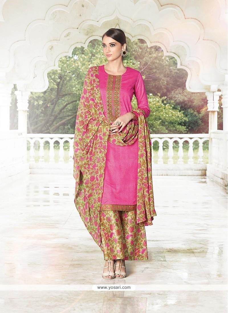 Print Cotton Satin Designer Palazzo Salwar Suit In Hot Pink