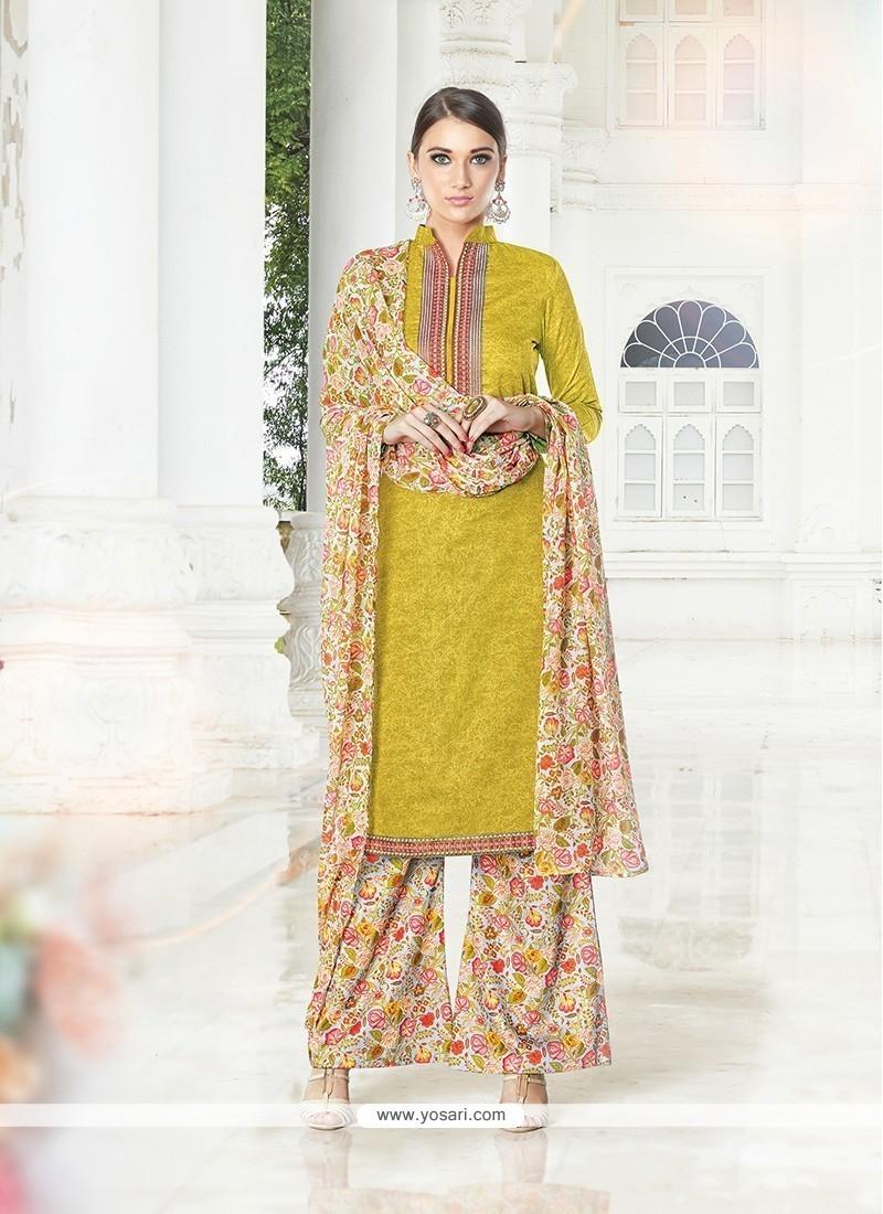 Innovative Cotton Satin Print Work Designer Palazzo Salwar Suit