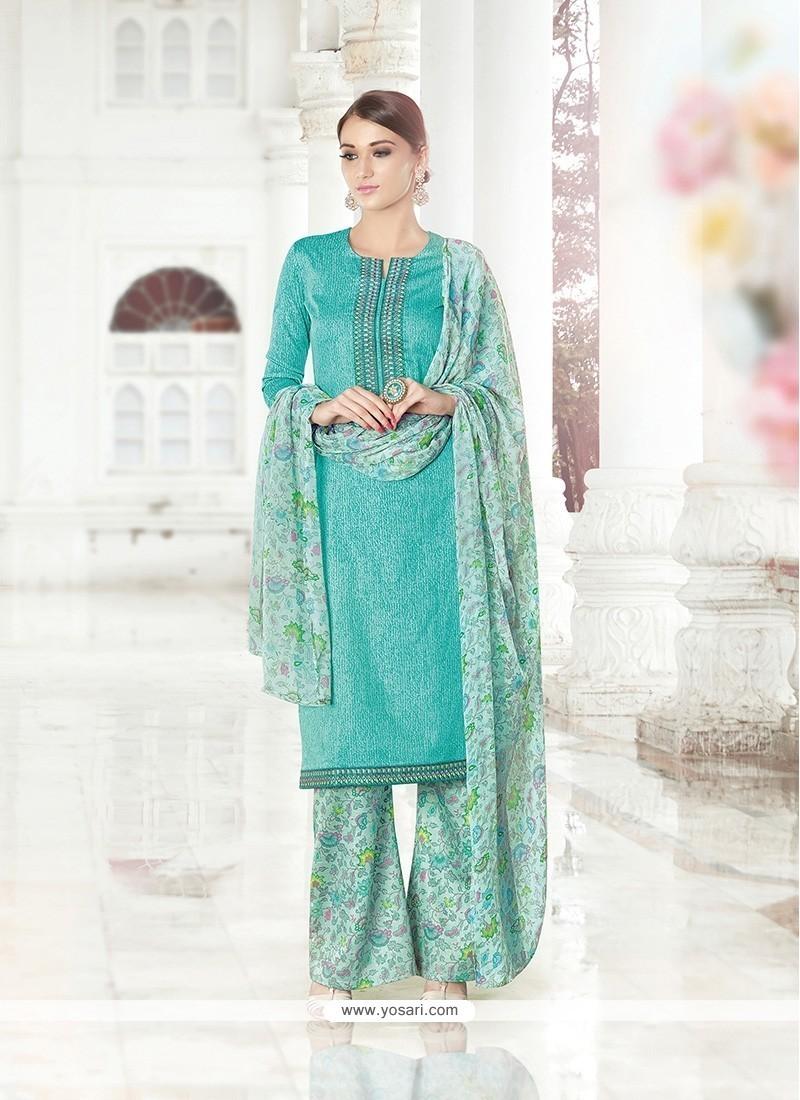 Fascinating Print Work Sea Green Cotton Satin Designer Palazzo Salwar Suit