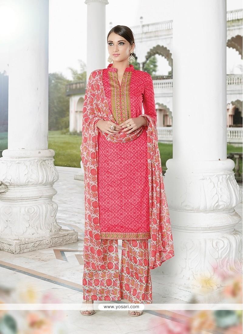 Stupendous Rose Pink Print Work Cotton Satin Designer Palazzo Salwar Suit