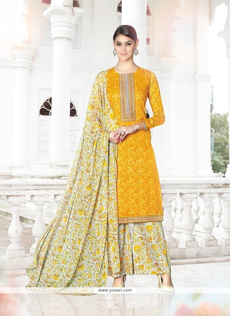 Sumptuous Cotton Satin Print Work Designer Palazzo Salwar Suit