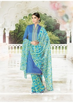 Regal Cotton Satin Blue Designer Palazzo Salwar Suit