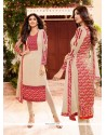 Shilpa Shetty Cream Embroidered Work Churidar Designer Suit