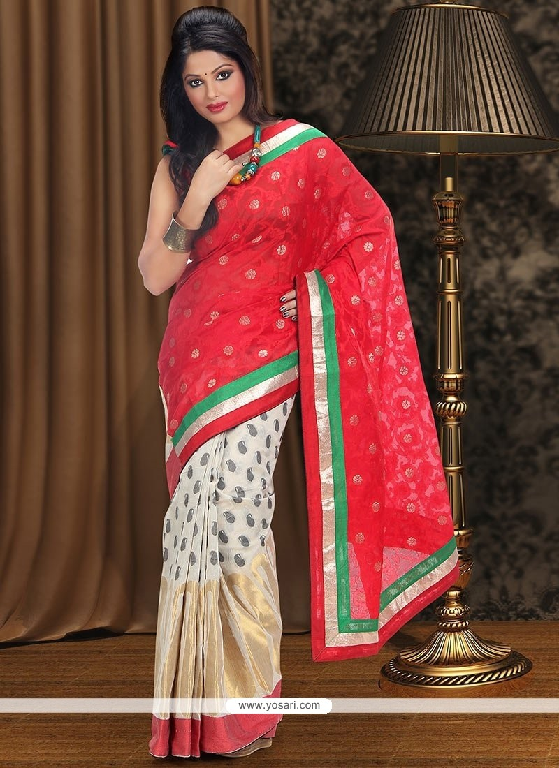 Red And Off White Chanderi Half And Half Saree