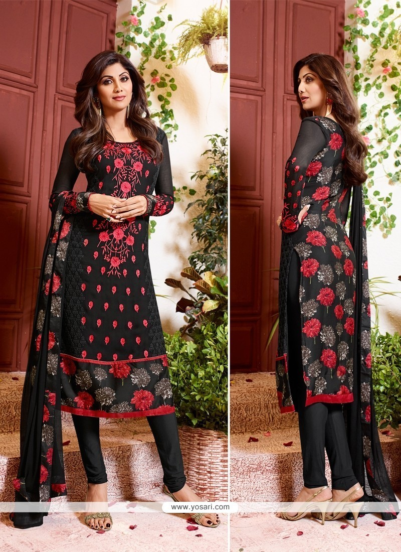 Shilpa Shetty Embroidered Work Black Churidar Designer Suit