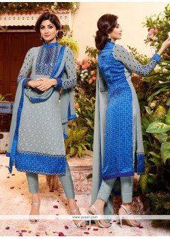 Shilpa Shetty Print Work Blue Churidar Designer Suit